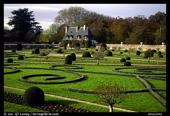 Gardens of Chenonceaux chateau. Loire Valley, France (color)