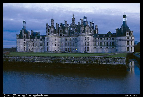 Chambord chateau at dusk. Loire Valley, France (color)