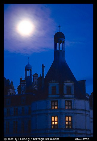 Detail of Chambord chateau with moon. Loire Valley, France (color)