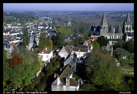 View of Loches from the dungeon. Loire Valley, France (color)