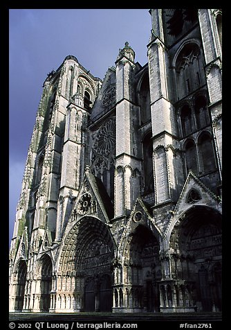 West Facade of Saint-Etienne Cathedral with unusual five-portal arrangement. Bourges, Berry, France (color)