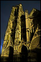 Front of Saint-Etienne Cathedral with stormy sky. Bourges, Berry, France