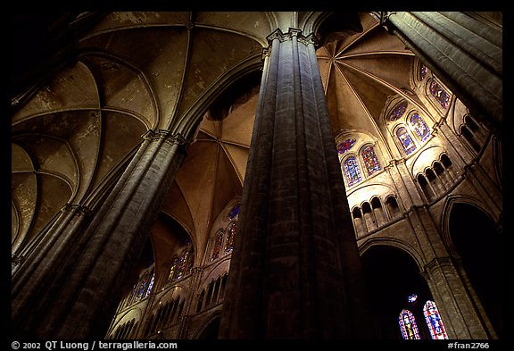 Soaring gothic columns, Saint-Etienne Cathedral. Bourges, Berry, France (color)