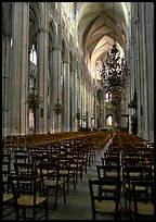 Inner aisle, the Saint-Etienne Cathedral. Bourges, Berry, France