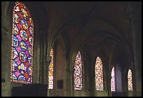 Aisle with tained glass windows, Saint-Etienne Cathedral. Bourges, Berry, France