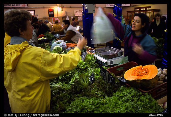 Shopping at the Fresh produce market, Saint Malo. Brittany, France (color)