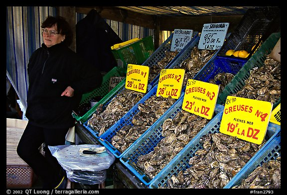 Stand with a variety of oysters in Cancale. Brittany, France (color)