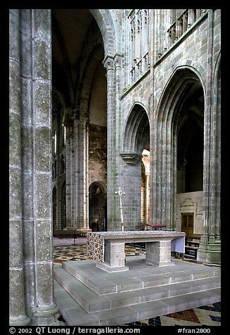 Chapel inside the Benedictine abbey. Mont Saint-Michel, Brittany, France (color)
