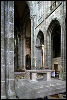 Chapel inside the Benedictine abbey. Mont Saint-Michel, Brittany, France