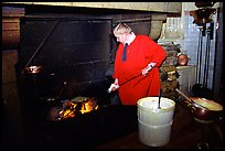 Baking the famous Omelette de la mere Poularde at the eponymous restaurant. Mont Saint-Michel, Brittany, France ( color)