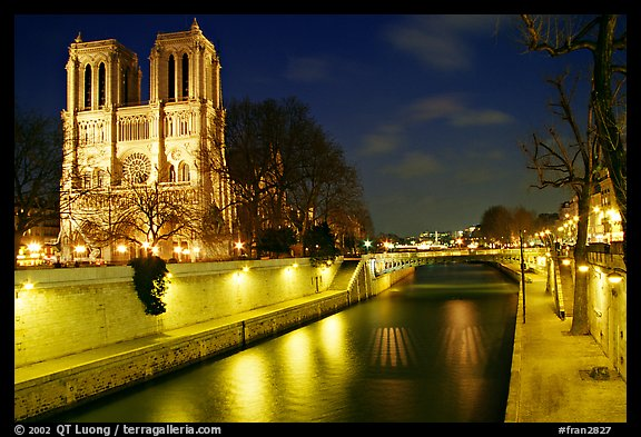 Facade of Notre Dame and Seine river at night. Paris, France (color)