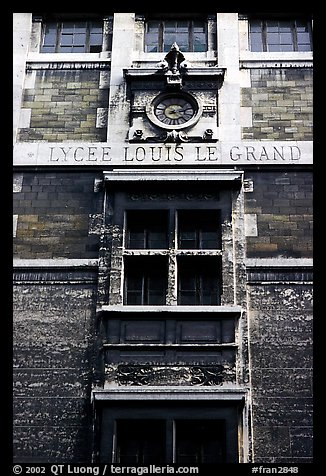 Facade of Lycee Louis-le-Grand, founded by Louis XIV in the 17th century. Quartier Latin, Paris, France (color)