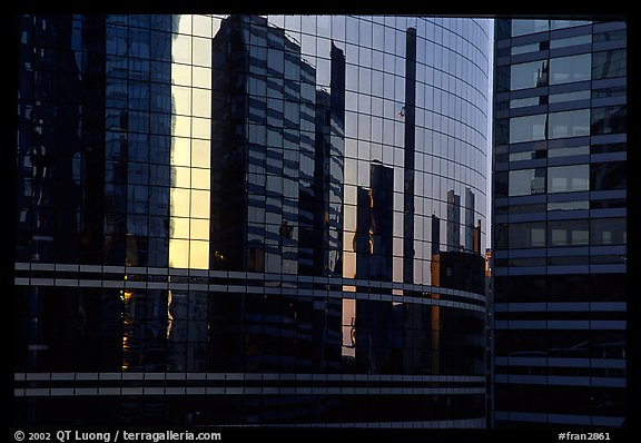 Reflections in modern office buildings, La Defense. France (color)
