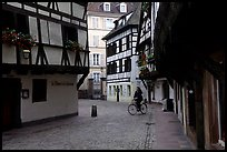 Street with half-timbered houses. Strasbourg, Alsace, France