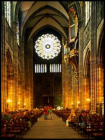 Inside the Notre Dame cathedral. Strasbourg, Alsace, France ( color)