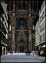 Facade of the Notre Dame cathedral seen from nearby street. Strasbourg, Alsace, France ( color)