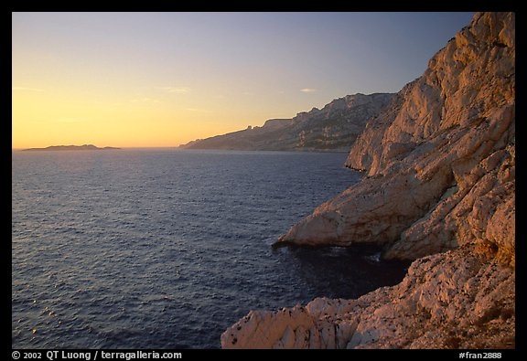 Calanque de Morgiou at sunset. Marseille, France (color)