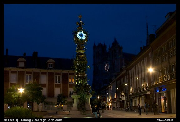 Place  Marie-Sans-Chemise and horloge Dewailly by night, Amiens. France (color)