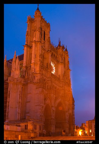 Cathedral at dusk, Amiens. France (color)