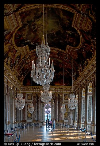 Gallerie des glaces room, Versailles Palace. France (color)