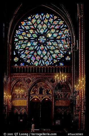 Rosette in the upper Holy Chapel. Paris, France (color)
