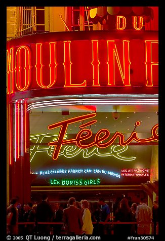 Detail of facade and lights of Moulin Rouge cabaret. Paris, France (color)