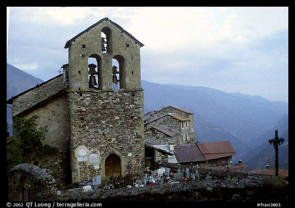 Church in high perched village. Maritime Alps, France (color)