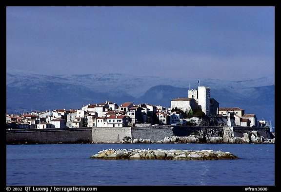 Antibes ramparts, and old town. Maritime Alps, France (color)
