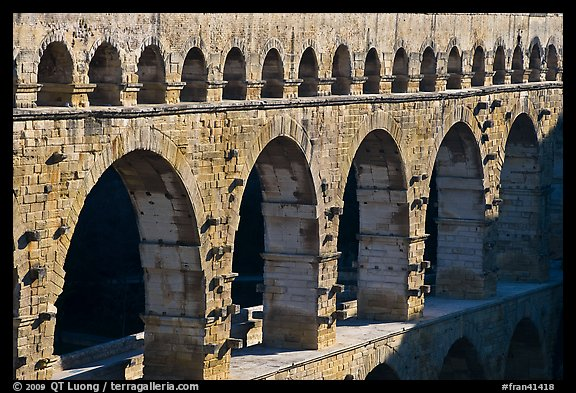 Upper and middle levels of Pont du Gard. France (color)