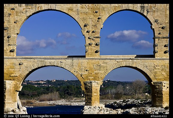 Lower and middle arches, Pont du Gard. France (color)