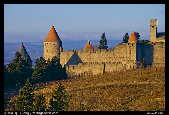 Historic fortified city. Carcassonne, France (color)