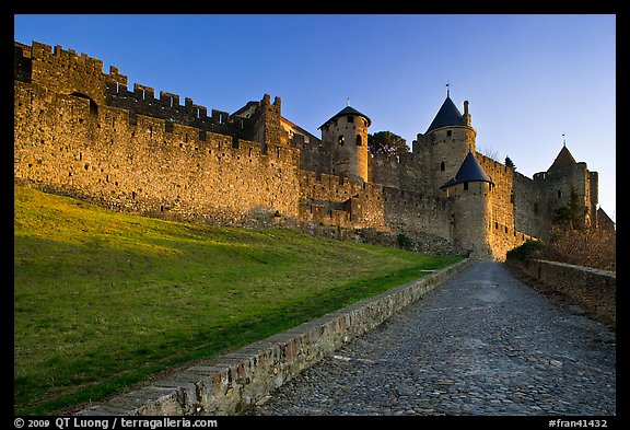 Path leading to old walled city. Carcassonne, France (color)