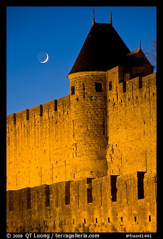 Ramparts and crescent moon. Carcassonne, France (color)