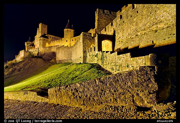 Fortress by night. Carcassonne, France (color)