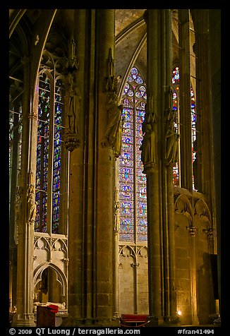 Columns, statues, and stained glass, basilique St-Nazaire. Carcassonne, France (color)