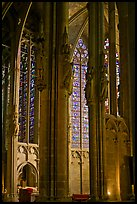 Columns, statues, and stained glass, basilique St-Nazaire. Carcassonne, France