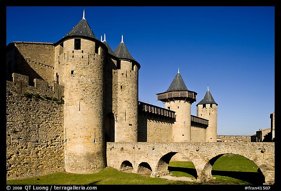 Chateau Comtal inside medieval city. Carcassonne, France