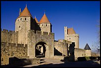 Main entrance of fortified city and drawbridge. Carcassonne, France (color)