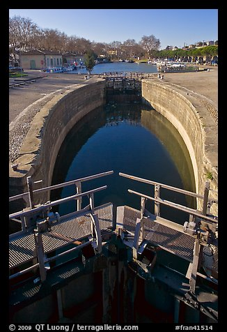 Lock and basin, Canal du Midi. Carcassonne, France (color)