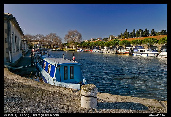 Basin with riverboats anchored, Canal du Midi. Carcassonne, France (color)