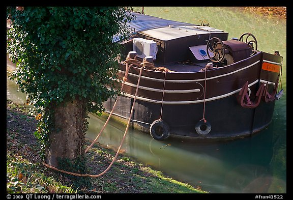 Anchored barge detail, Canal du Midi. Carcassonne, France
