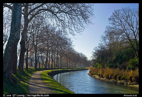 Rural section of Canal du Midi. Carcassonne, France (color)