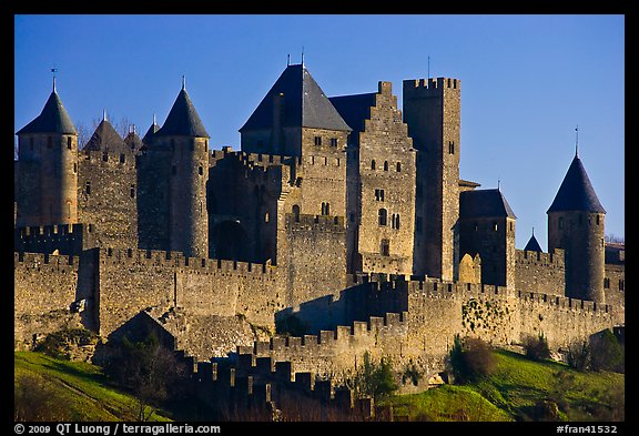 Castle and ramparts, medieval city. Carcassonne, France (color)