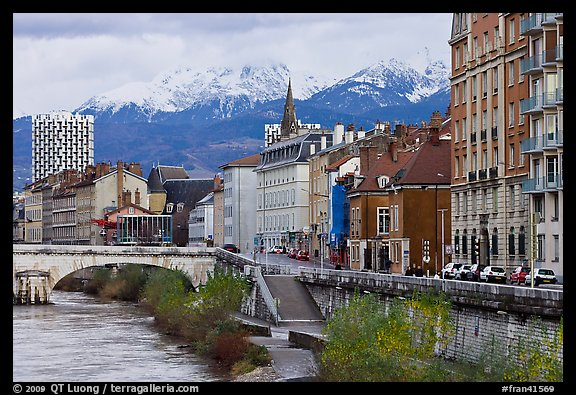 Isere riverbank and snowy mountains. Grenoble, France (color)
