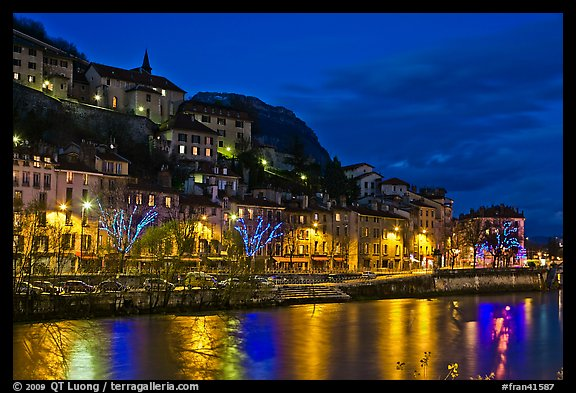 Night view with Isere River and illuminations reflected. Grenoble, France (color)