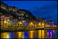 Night view with Isere River and illuminations reflected. Grenoble, France ( color)