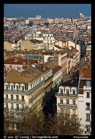 Aerial view of city heart. Lyon, France (color)