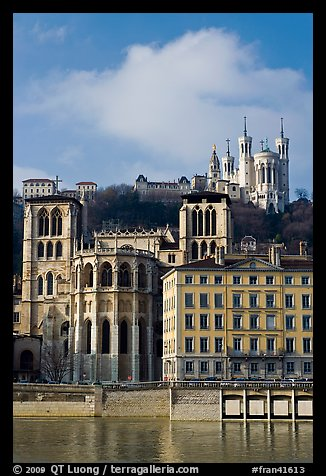 Saint Jean Cathedral and Notre Dame of Fourviere basilica. Lyon, France (color)