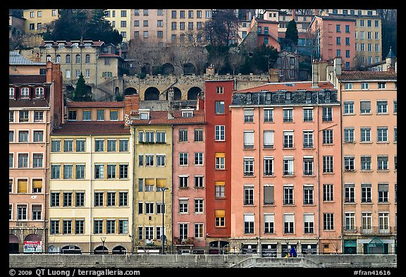 Painted houses on banks of the Saone River. Lyon, France (color)
