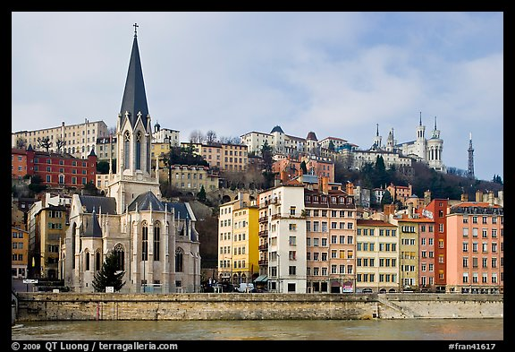 Church Saint George and Fourviere Hill. Lyon, France (color)